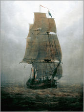 Muursticker  Zeilschip in mist - Caspar David Friedrich