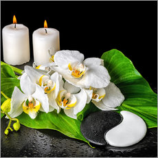 Muursticker  Spa concept with candles and orchids