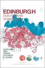 Gallery print  Edinburgh city map - campus graphics