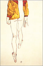 Gallery print  Standing half naked with a brown shirt - Egon Schiele