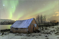 Muursticker  Aurora Borealis on typical Rorbu, Svensby, Norway - Roberto Sysa Moiola