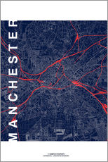 Muursticker  Manchester Map Midnight Map - campus graphics