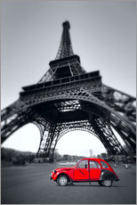 Gallery print  Vintage red car stands on the Champ de Mars