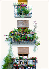 Muursticker  Facade with balconies full of flowers in Valencia