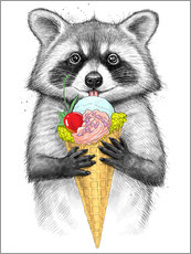 Muursticker  Raccoon with ice cream - Nikita Korenkov