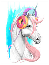 Muursticker  Unicorn with headphones - Nikita Korenkov