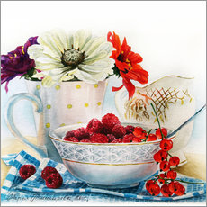 Muursticker Flowers and berries watercolor painting