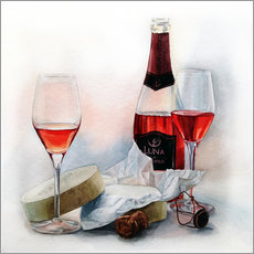 Muursticker Wine and cheese watercolor painting