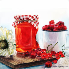 Muursticker Raspberry jam watercolor painting