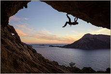 Gallery print  Climber in a cave at sunset