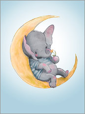 Muursticker  Elephant in the moon - Kidz Collection
