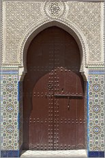 Muursticker  Wooden door in decorated archway - Nico Tondini