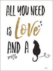 Muursticker  All you need is love and a cat - Veronique Charron