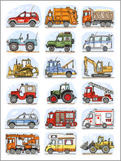 Muursticker  Al mijn auto's - Hugos Illustrations