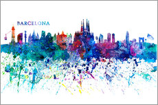 Muursticker  Skyline of Barcelona - M. Bleichner