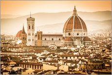 Muursticker Cityscape with Cathedral and Brunelleschi Dome, Florence