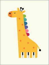 Muursticker  Giraffe piano - Andy Westface