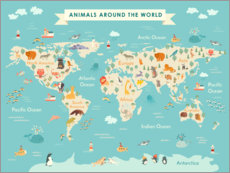 Muursticker  World map with animals (English) - Kidz Collection