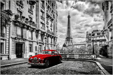 Muursticker  Paris in black and white with red car - Art Couture