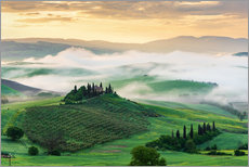 Premium poster Morning mist in Tuscany