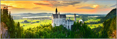 Acrylglas print  Neuschwanstein in the sunset - Art Couture