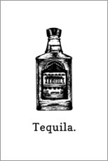 Hout print  Tequila bottle - Typobox