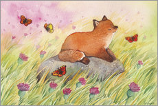 Acrylglas print  Fox with butterflies - Michelle Beech