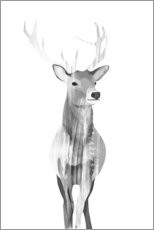 Aluminium print  Deer (black and white) - Goed Blauw