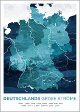 Aluminium print  Germany's big rivers