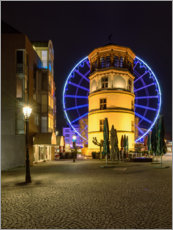 Acrylglas print  Castle tower in Dusseldorf with blue ferris wheel - Michael Valjak
