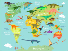 Hout print  Dinosaur Worldmap - Kidz Collection
