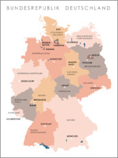 Aluminium print  Federal states and capital cities of the federal republic of Germany