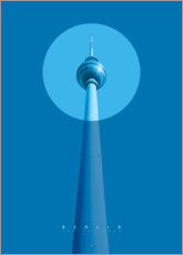 Muursticker  Berlin TV tower - Black Sign Artwork