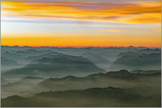Premium poster Morning mist in the swiss alps 2