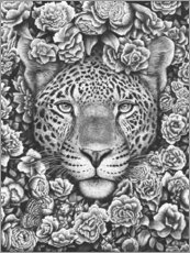Acrylglas print  Jaguar between flowers - Valeriya Korenkova