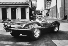 Muursticker  Steve McQueen in Jaguar - Celebrity Collection