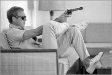 Aluminium print  Steve McQueen met revolver - Celebrity Collection