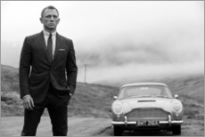 Aluminium print  Daniel Craig als James Bond zwart en wit - Celebrity Collection