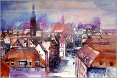 Premium poster View to the main market in Nuremberg