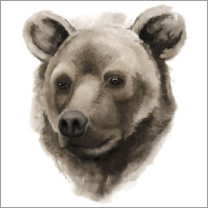 Hout print  Grizzly portrait - Grace Popp