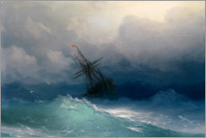 Muursticker  Ship in the Stormy Sea - Ivan Konstantinovich Aivazovsky