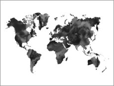 Aluminium print  World Map Black - Nouveau Prints