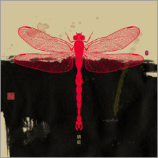 Aluminium print  Big Red Dragonfly - Thoth Adan