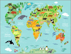 Canvas print  World Map of Animals (Spanish) - Kidz Collection