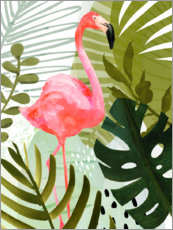 Hout print  Flamingo Forest II - Victoria Borges