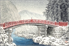 Canvas print  Shinkyo bridge in Nikko under the snow - Kawase Hasui