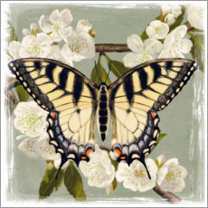 Hout print  Butterfly on a branch i - Victoria Borges