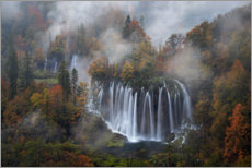 Premium poster Plitvice Lakes National Park with fog