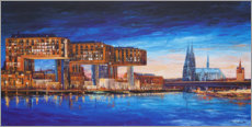 Acrylglas print  Cologne view, crane houses and cathedral - Renate Berghaus