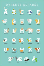 Canvas print  Animal alphabet (Danish) - Kidz Collection